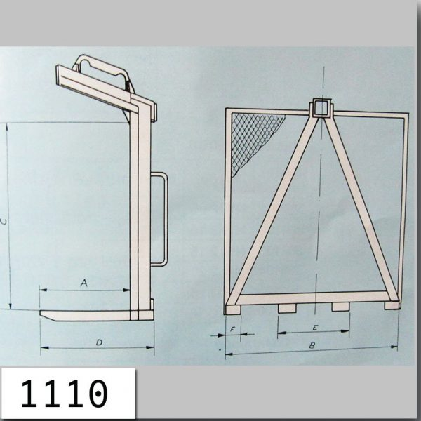 19001.4 - Lifting fork with rear wall Q= 1.5 t , 2,5 t
